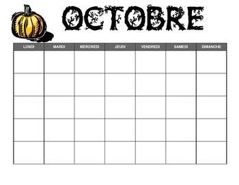 French Monthly Calendar Templates By Kristen Hinnegan Tpt