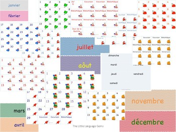 French Monthly Themed Calendar