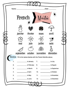 french months of the year worksheet packet by sunny side up resources. Black Bedroom Furniture Sets. Home Design Ideas