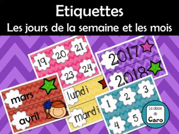 French Months and Days of the Week Labels-Etiquettes Jours de la semaine et mois
