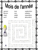 French Months of the Year Crossword Puzzle