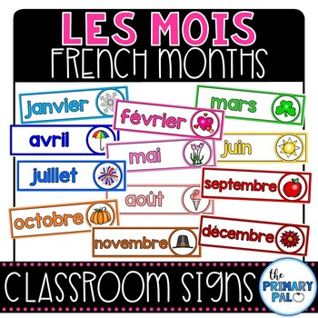 French Months of the Year Signs
