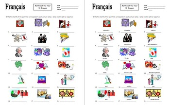French Months of the Year Vocabulary IDs