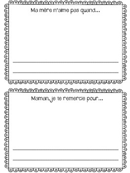 French Mother's Day mini booklet (La fête des mères)