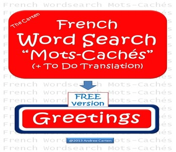French Mots-Caches (Word Search) ... Greetings with To Do
