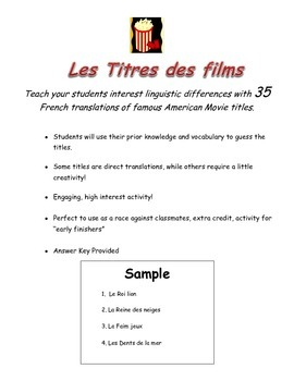 French Movie Titles - Les titres des films - Fun French Worksheet