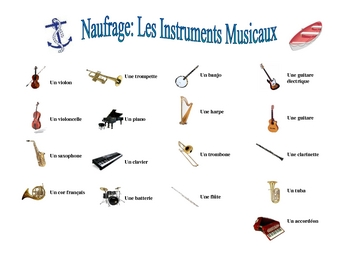 French Musical Instrument Speaking/Writing  Activity (Naufrage)