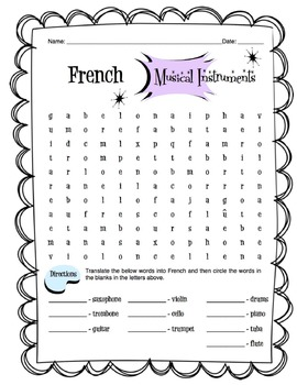 French Musical Instruments Worksheet Packet