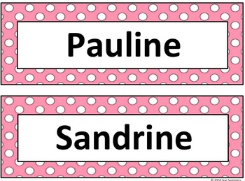 French Nameplates in 2 Sizes with Colorful Polka Dot Backgrounds