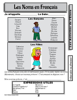 French Names and Introducing Yourself / Les Noms Français et se Présenter
