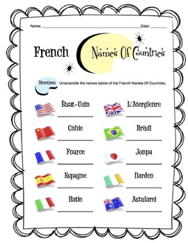 French Names of Countries Worksheet Packet