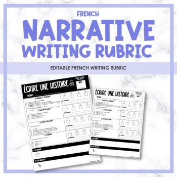 French Narrative Writing Rubric - Rubrique de l'écriture (les histoires)