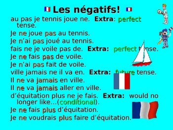 French Teaching Resources: Negatives Unjumbling Plenary/ Warmer Activity.