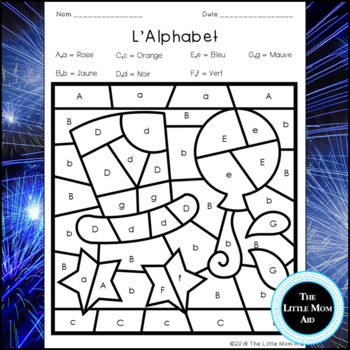 French New Years Color by Letter  | Coloriages Magiques: Jour de L'An - Alphabet