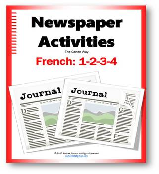 French Newspaper Activities for all levels with Reading, Writing, or Speaking