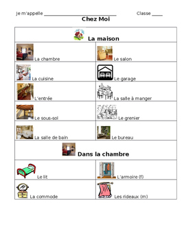 French Note Sheet on House Vocabulary