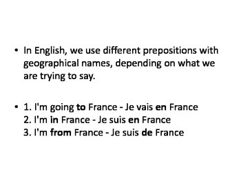French Notes: Geographical Prepositions