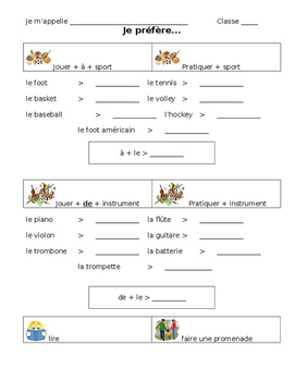 French Notes on Leisure Vocabulary
