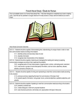 French Novel Study templates