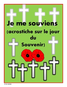 French - November Writing Activity (Remembrance Day Acrostic)