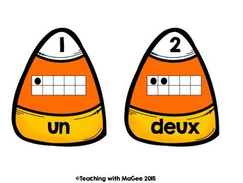 French Number 0-20 Match – Bonbons d'Halloween