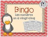 French Number Bingo (1-25)