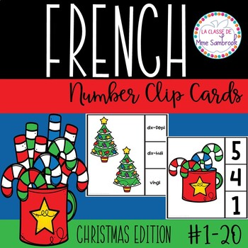 French Number Clips 1-20 Christmas Edition