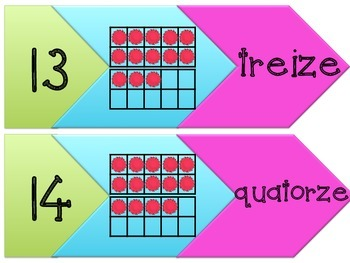 French Number Word Game 1-20 with Ten Frame en Francais