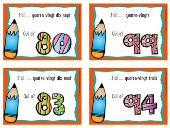 """French Number - """"I Have, Who Has?"""" Game for Numbers 75 - 100s"""