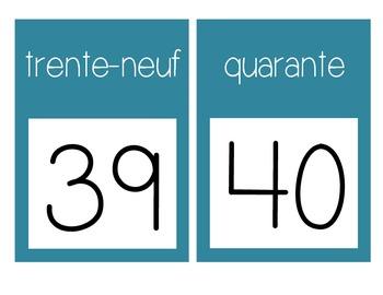 French Number Line Ligne de numéros - BLUE