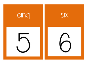 French Number Line Ligne de numéros - ORANGE