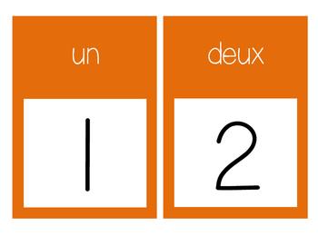 French Number Line Ligne de numéros - ORANGE