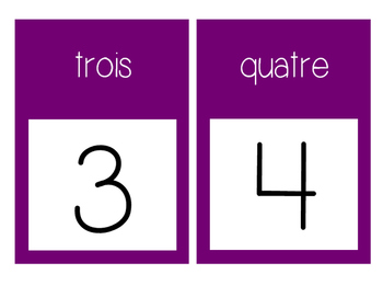 French Number Line Ligne de numéros - PURPLE