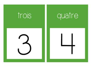 French Number Line Ligne de numéros - GREEN