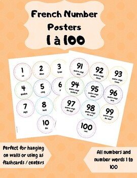 French Number Posters Flashcards 1-100