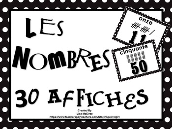 French Number Words Poster Set in Black & White