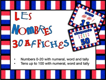 French Number Words Poster Set in Color