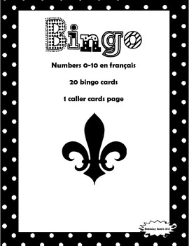 French Numbers (0-10) Bingo Game
