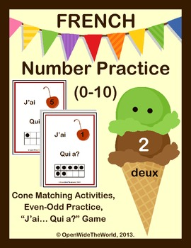 French Dual Language Immersion Numbers (0-10) Ice Cream Pack