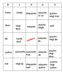 French Numbers 1-100 Bingo Card Bundle