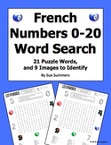 French Numbers 0 - 20 Word Search and Image IDs Worksheet