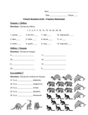 French Numbers 0-30 Worksheet