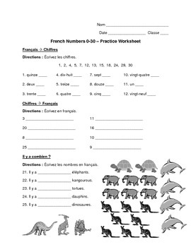 French Numbers 0-30 Worksheet by Exploring French and Spanish | TpT