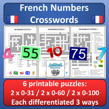 French Numbers 1-100 Crosswords