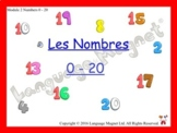 French Numbers 0 to 20 Presentation, Display Cards, Refere