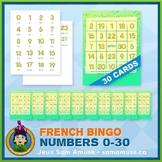 French Numbers 0 to 30 Bingo Game • 30 Cards • Abstract Theme