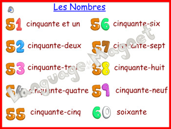 French Numbers 0 to 60 Presentation, Display Cards, Reference Sheet & Bingo Game