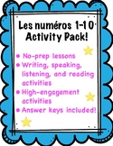 French Numbers 1-10 Activity Packet