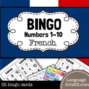 French Numbers 1-10 Bingo Game | Loto - Nombres 1-10 en français
