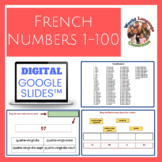 French Numbers 1-100 Digital, Google Slides™ Vocabulary Activities